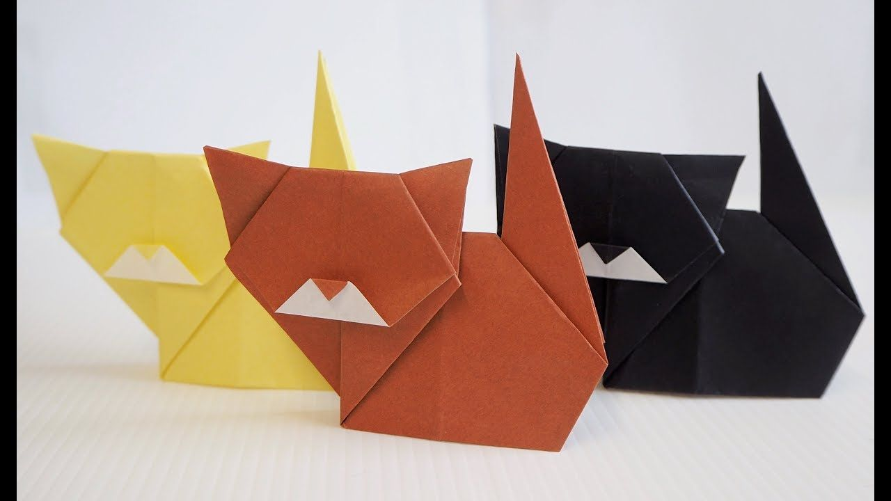 Easy Kids Origami Cat Tutorial (With images) Origami cat