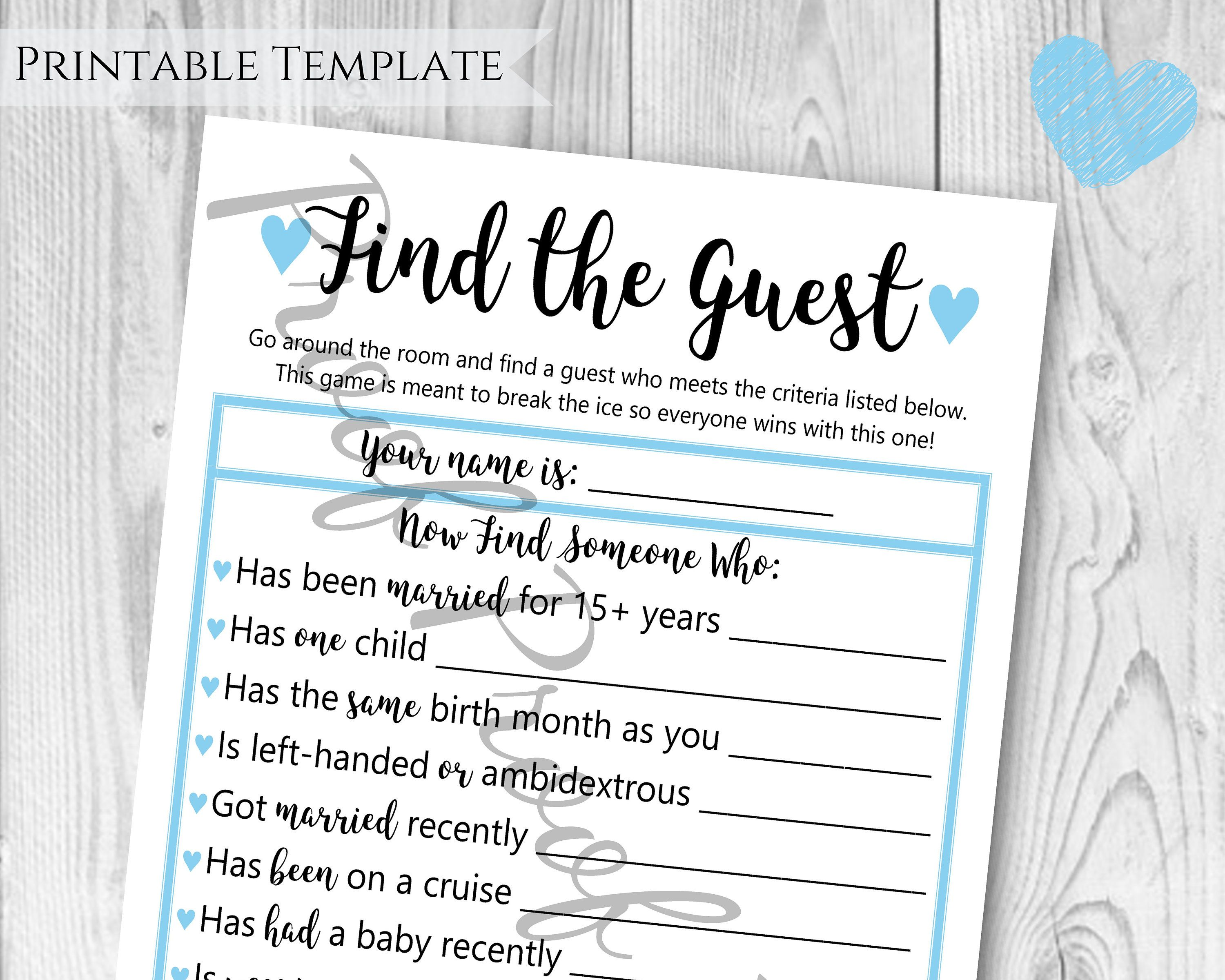 Find The Guest Baby Shower Game Boy Baby Shower Blue Themed Etsy Baby Boy Shower Baby Shower Baby Shower Games