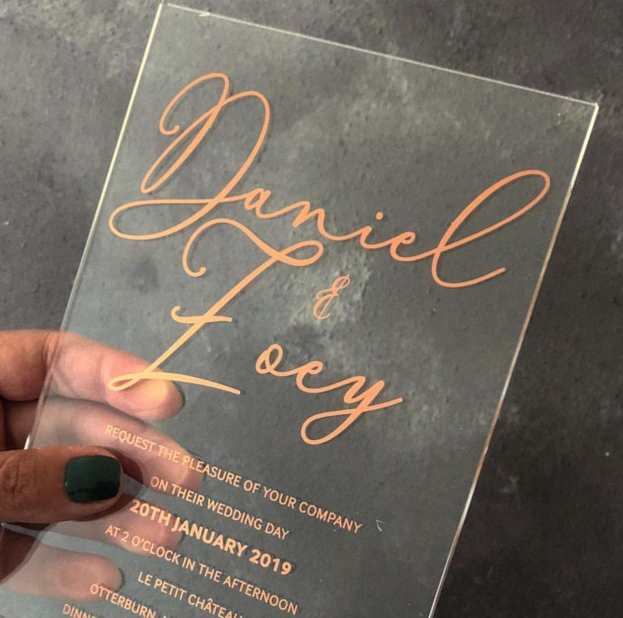 Wedding after party decorations january 2019 Invitación en acrílico transparente del IG de Polka Dot Paper