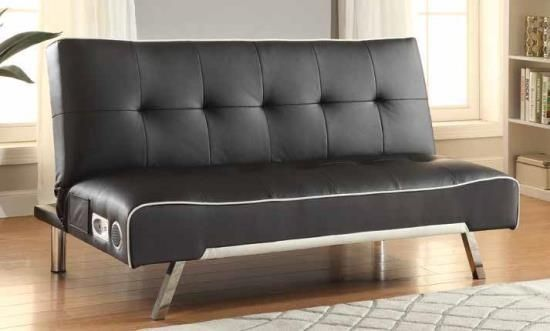 Black Faux Leather And White Piping Trim Futon Sofa Bed With Built In Bluetooth Sound System Leather Sofa Bed Best Leather Sofa Faux Leather Sofa