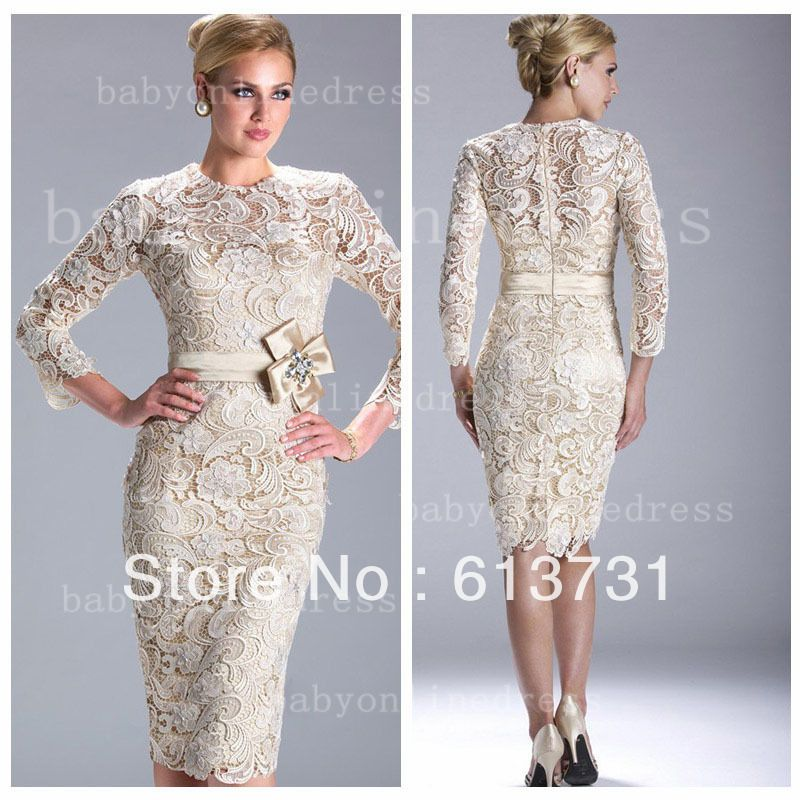 Wholesale - Champagne/Ivory Long Sleeved Knee Length Lace Evening ...