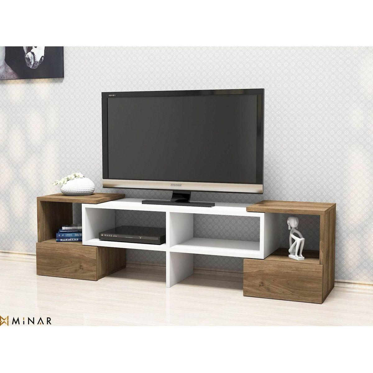 Meuble Haut D Angle Pour Tv meuble tv moderne fold - 141 x 39 cm - blanc et marron