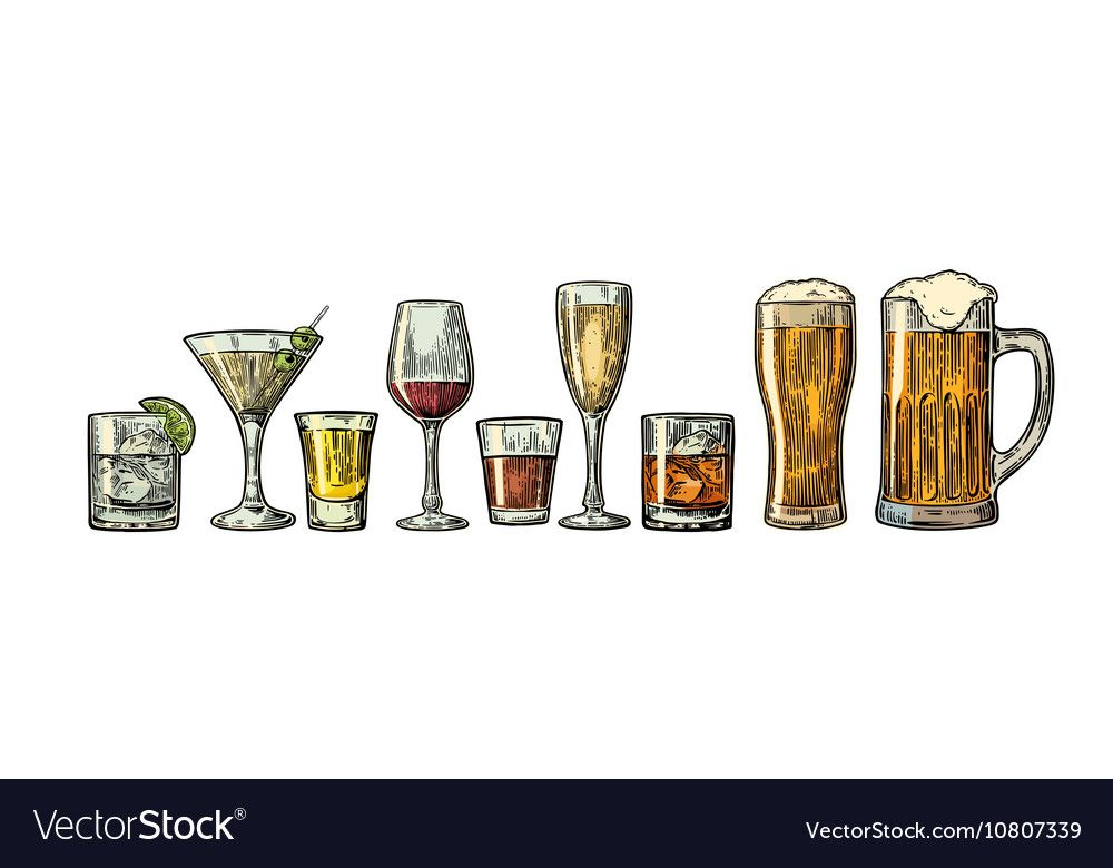 Set glass beer whiskey wine gin rum tequila Vector Image ,