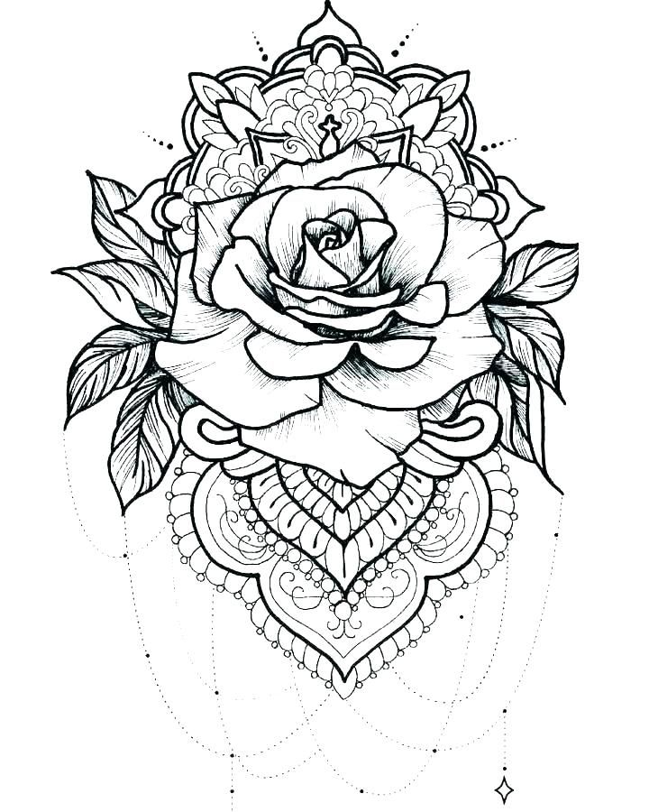 Printable Rose Coloring Pages For Everyone Tattoos Rose Tattoos Mandala Tattoo