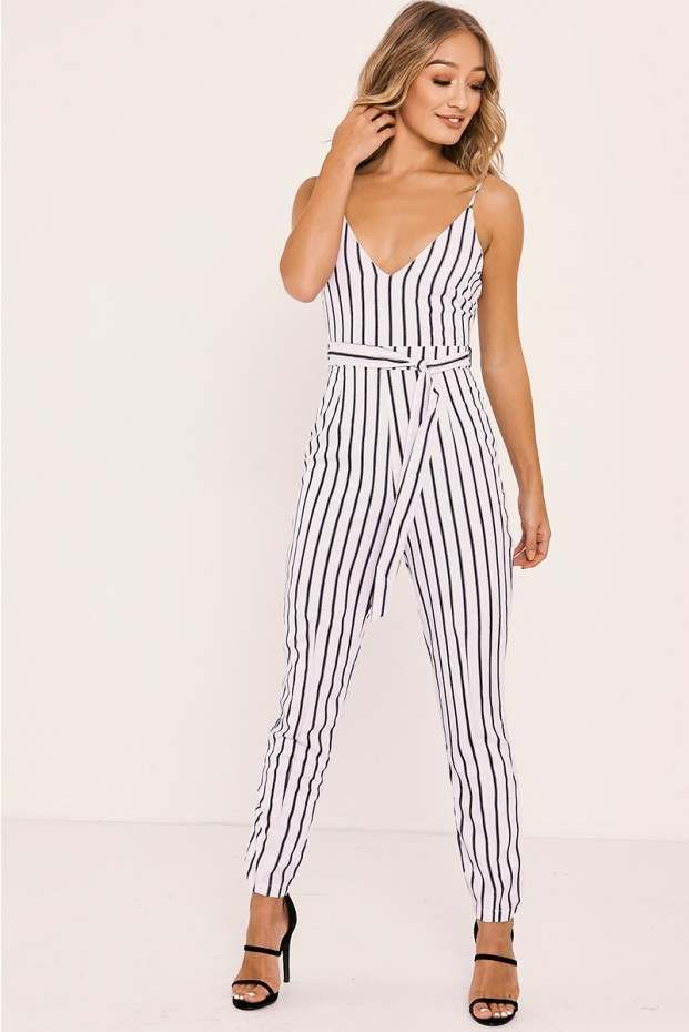 1df9c2ee230c SHANEIKA WHITE STRIPED PLUNGE BELTED JUMPSUIT - In The Style