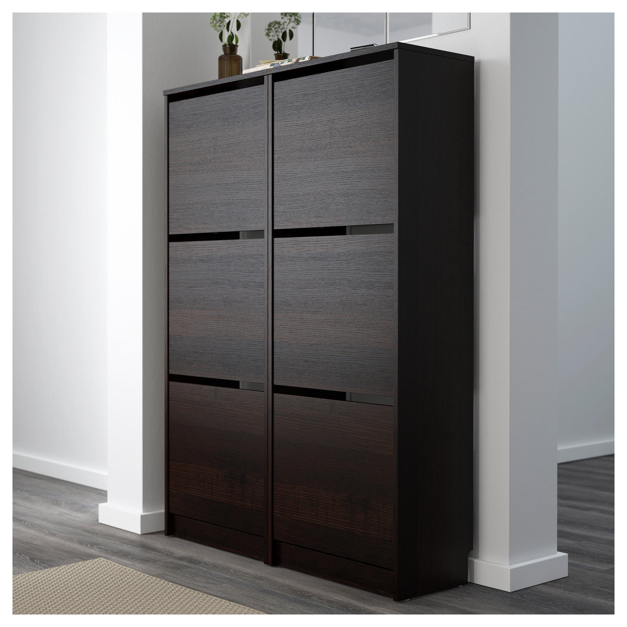 Best Ikea Bissa Shoe Cabinet With 3 Compartment Black Brown 400 x 300