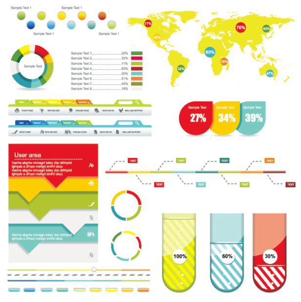 Pie chart graphs tables pinterest pie charts free vector colorful world map tags beautiful website menu with pie chart and line graph vertical glossy progress bar tool tip and volume control bar gumiabroncs Images