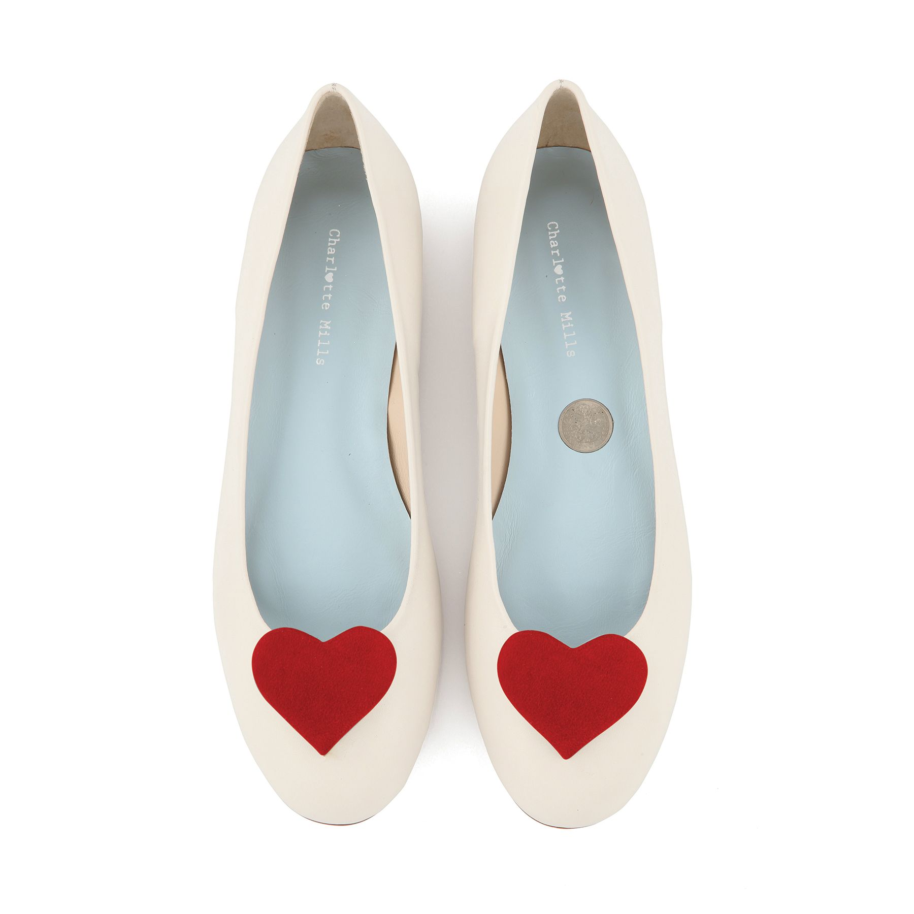 ivory flat pump with red suede heart | Wedding outfit | Pinterest ...