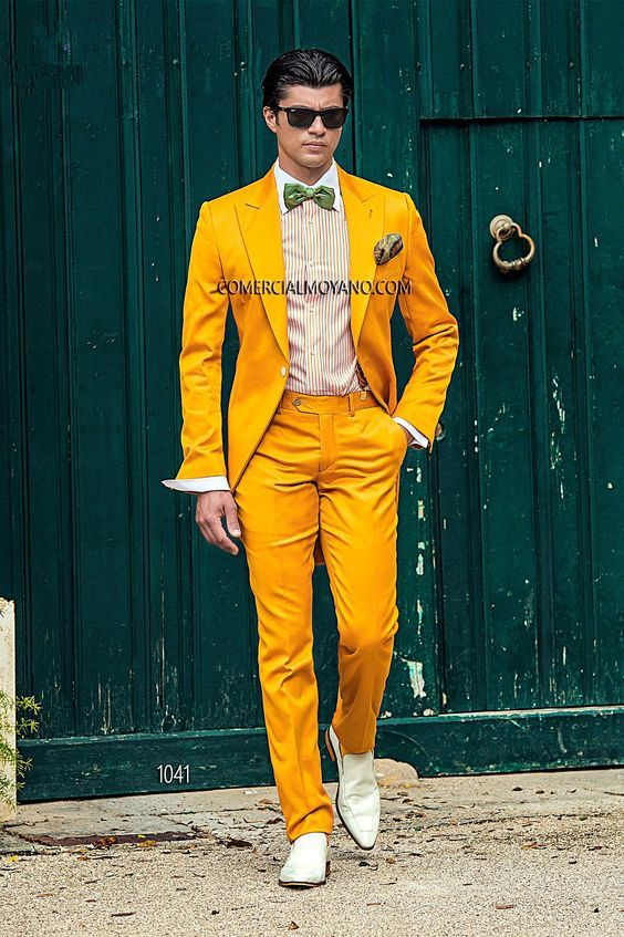 Click to Buy << Latest Coat Pant Designs Yellow Casual Men Suit Slim ...