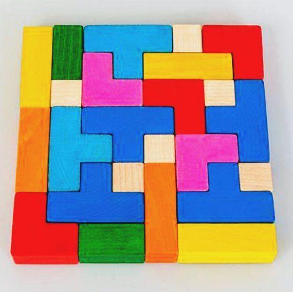 Tetris-Farbe - 3D Holzpuzzle, Quadrat Puzzle, Montessori Kleinkind Spielzeug, Burr Puzzle, Montessori Spielzeug, Holz Puzzle, Lernspiel, #Burr #Holz #Holzpuzzle #Kleinkind #Lernspiel #Montessori #Puzzle #Quadrat #Spielzeug #TetrisFarbe