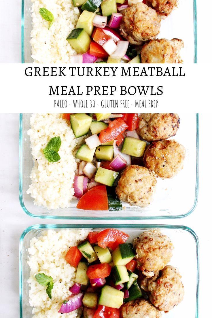 Greek Turkey Meatball Meal Prep Bowls Recipe Food Bloggers