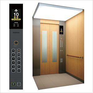 大型の液晶や触ってわかる大型の凸文字ボタン 降車お知らせボタン 満員お知らせ灯 を備えたエレベーター ユニバーサルデザイン デザイン エレベーター