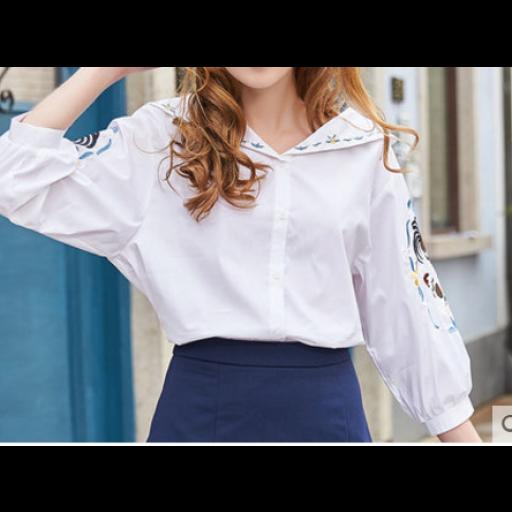 قميص رسمي ابيض نسائي للمدرسة والجامعة Formal Shirts Long Sleeve Blouse Fashion