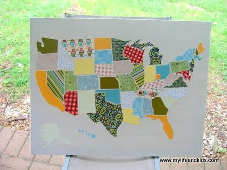 Us Map Scrapbook Paper DIY USA map made out of scrapbook paper. I must make this! | Diy
