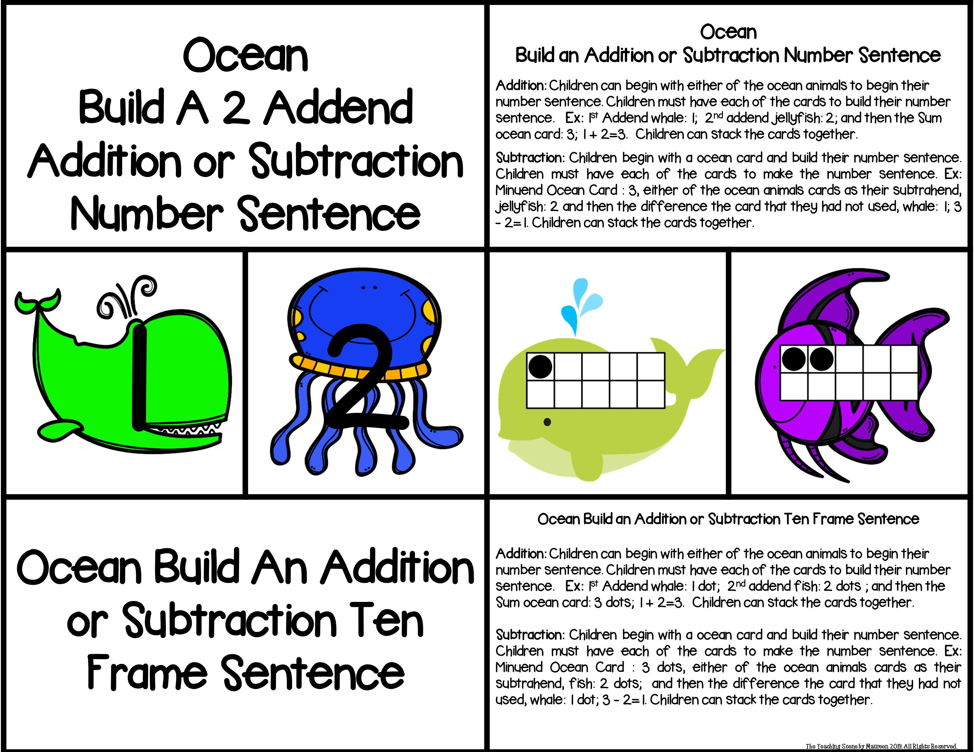 Ocean 2 Addend Addition Amp Subtraction With Ten Frames