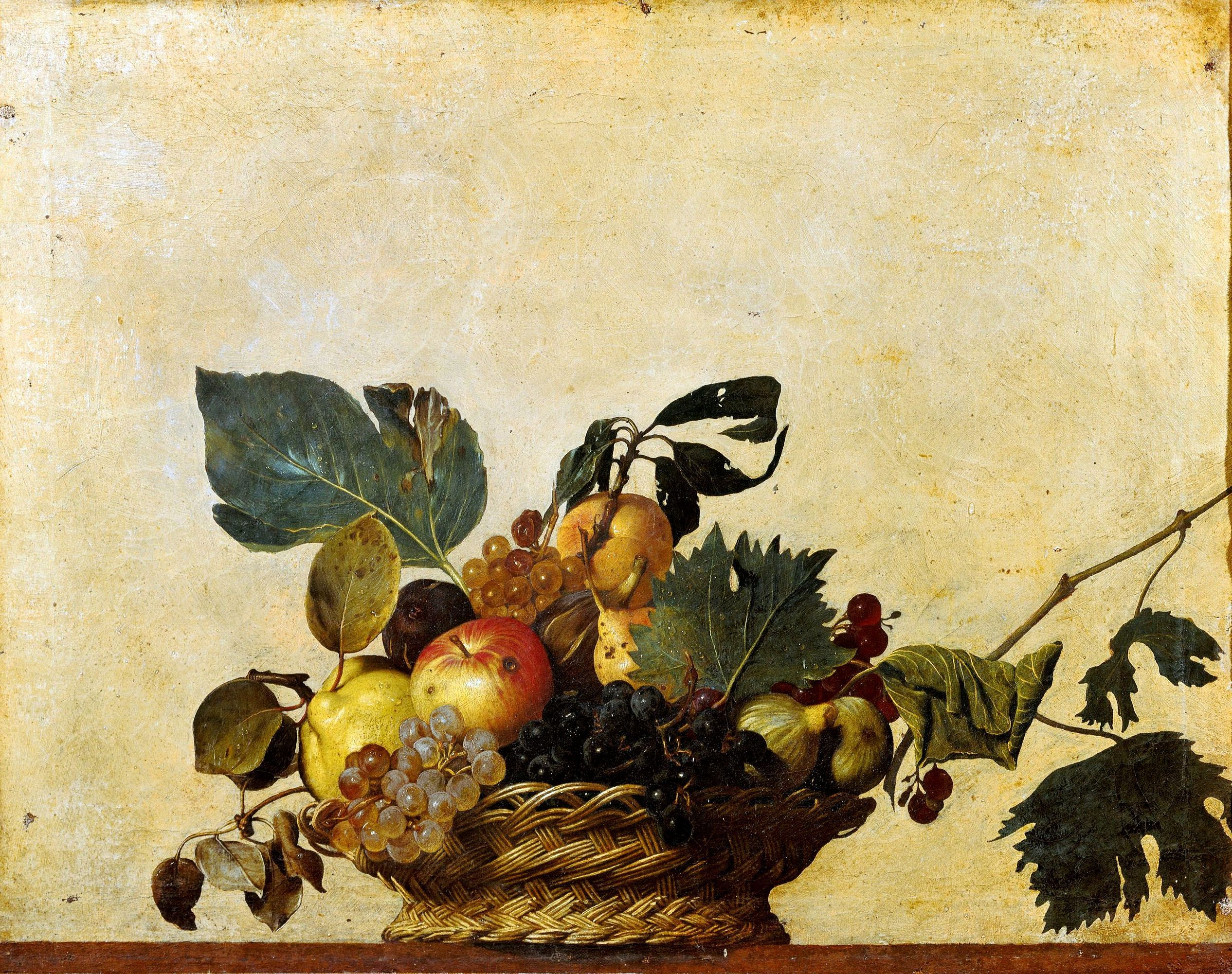 caravage la corbeille de fruits 1599 46x64 5cm pinacoth que ambrosienne milan art des. Black Bedroom Furniture Sets. Home Design Ideas