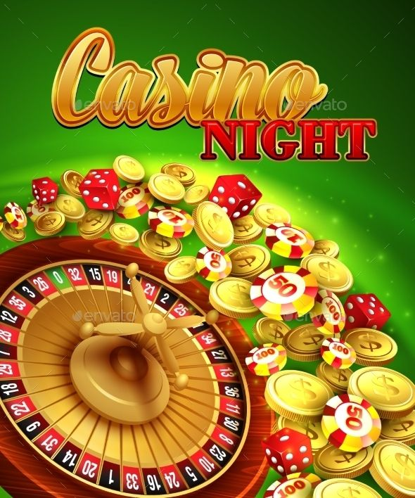 Casino Night. Vector Illustration With Roulette by Vik_Y Casino night. Vector Illustration with roulette, coins EPS 10