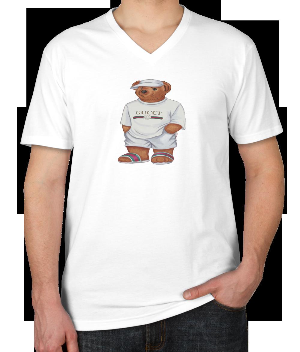 300ed67c Life's Gucci Bear Unisex V-neck T-shirt   TEEFLAT   Gucci shirts men ...