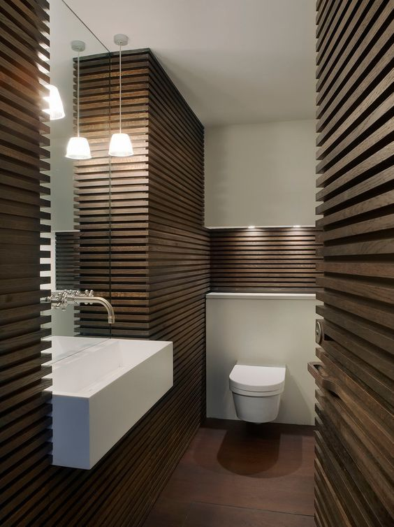 Image Result For Modern Wood Slat Accent Wall Modern Bathroom Design Wooden Bathroom Wood Wall Bathroom