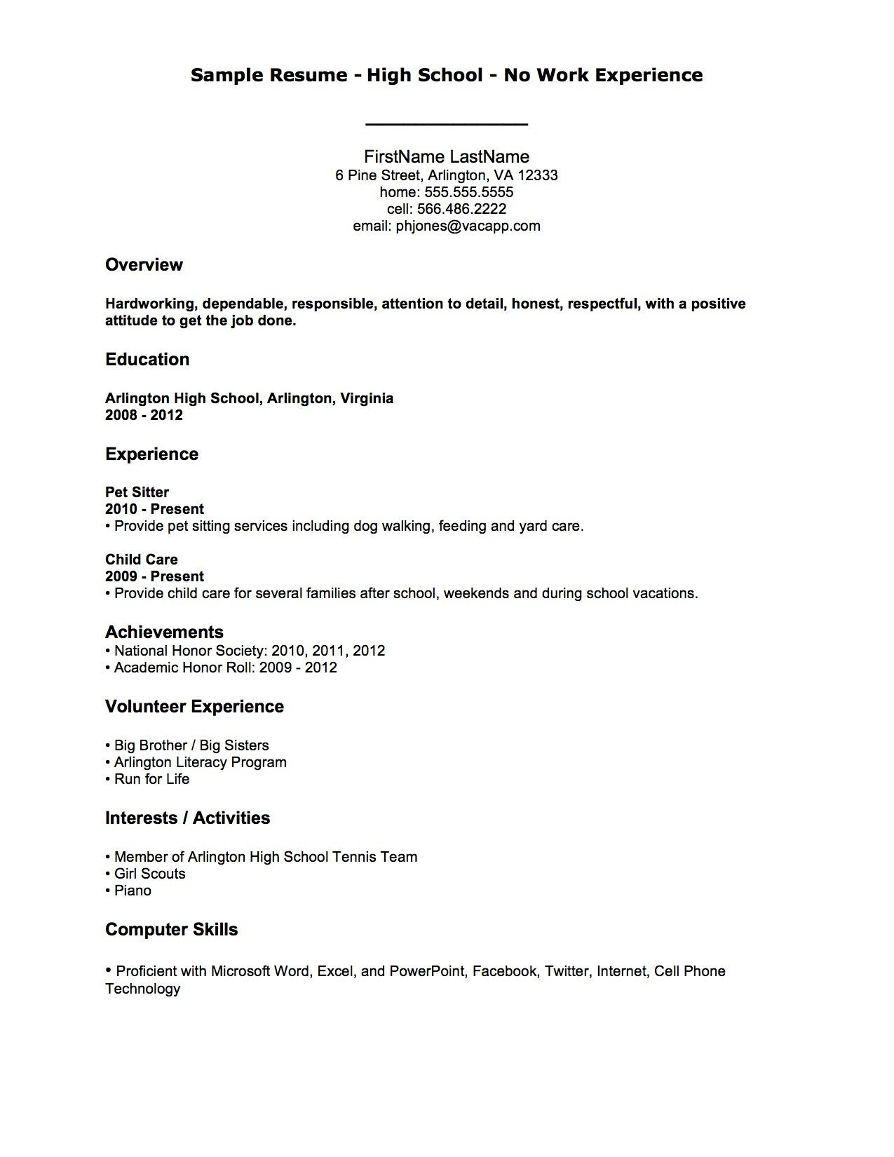 resume sample for first job