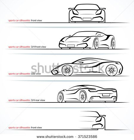 Modern Super Car Sports Car Vector Silhouettes Outlines