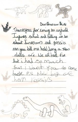 A Thank You Letter Sent Into Everything Dinosaur After A School