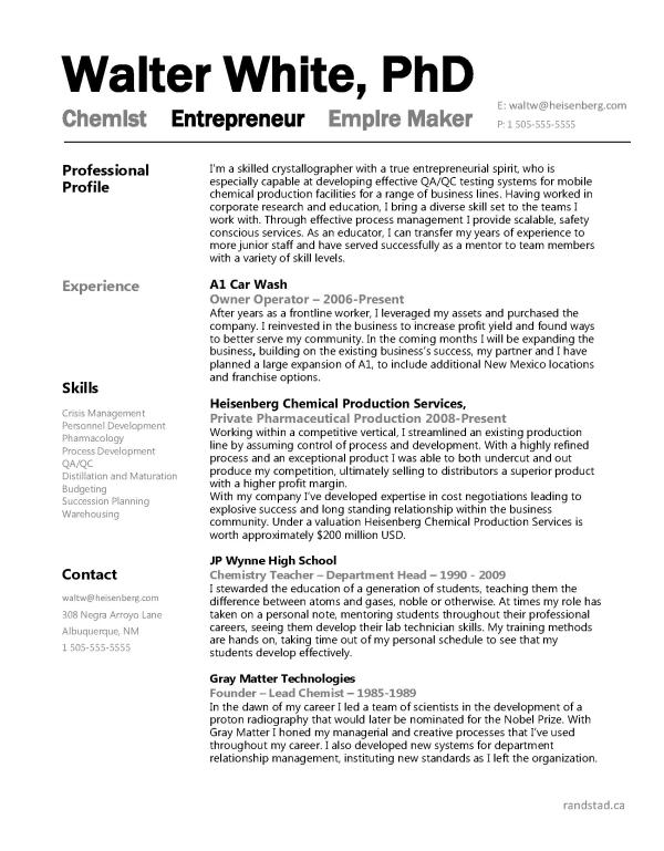 Walter White Randstad Resized 600 Jpg 600 769 Free Resume Samples Resume Examples Teacher Resume