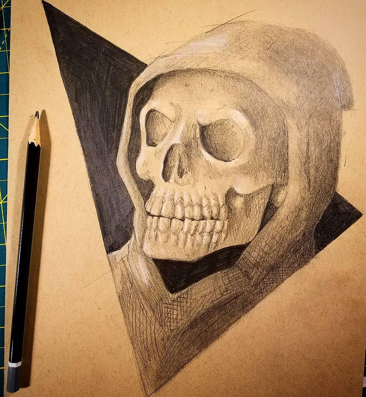 Wat i did a lil skeletor portrait pencil graphite