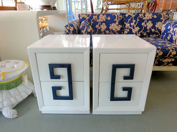 hollywood regency style furniture. Greek Key Nightstands - Pair Of Hollywood Regency Style GREEK KEY In Nice As Found Furniture