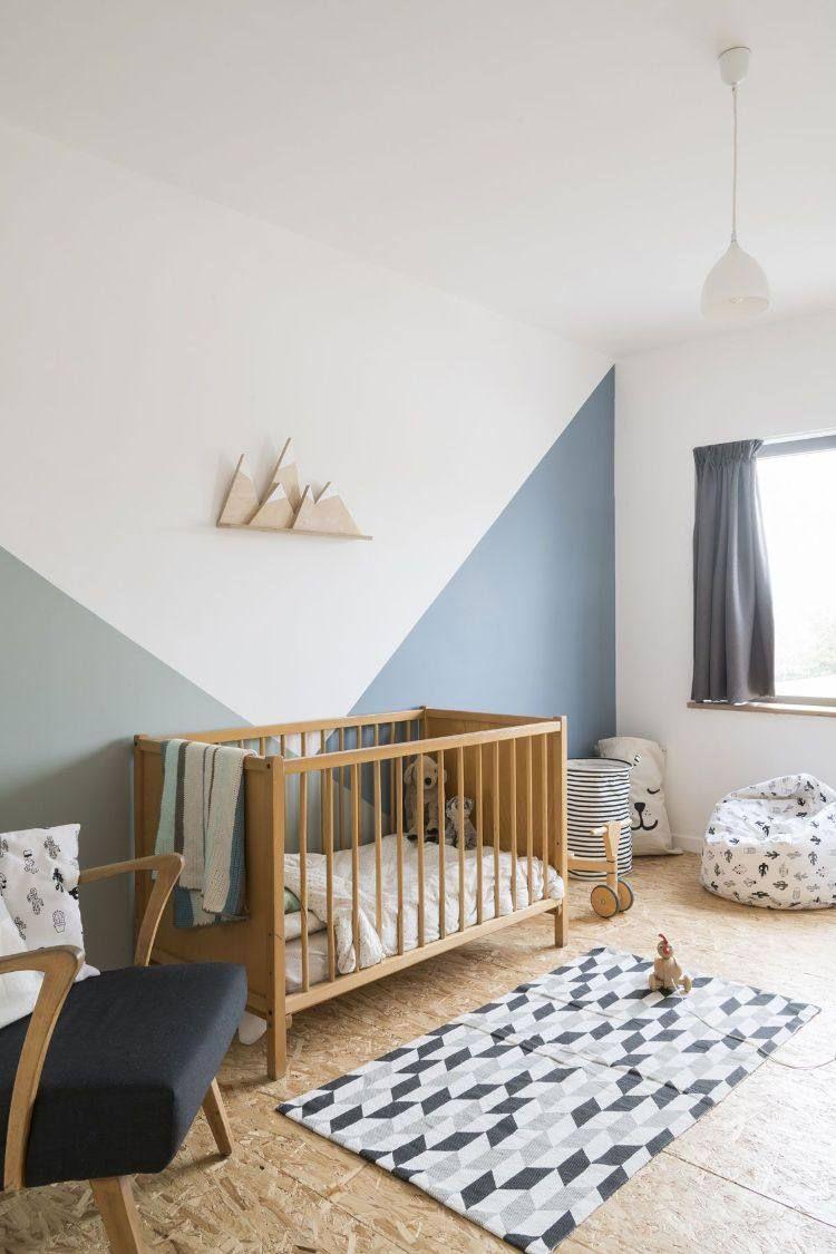 peinture murale géométrique chambre bébé idée contemporaine