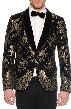 9eed7dc133ea Dolce & Gabbana Chantilly Lace Velvet Evening Jacket, Black/Gold ...