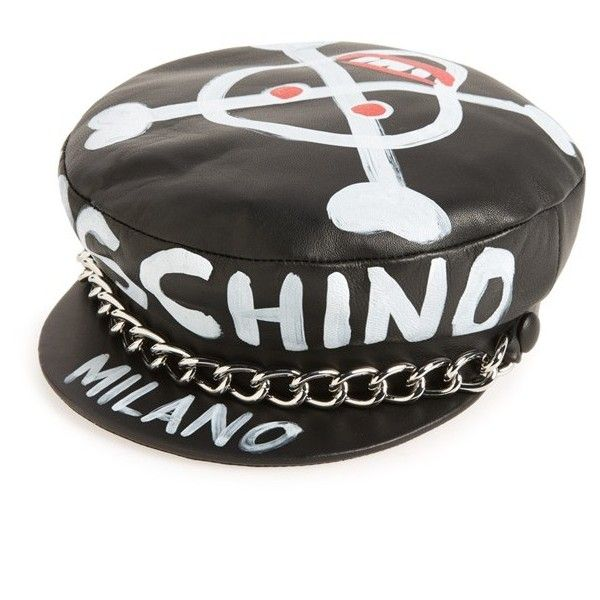 bc0a307bbbec9 Women s Moschino Skulls Leather Cap (47.210 RUB) ❤ liked on Polyvore  featuring accessories