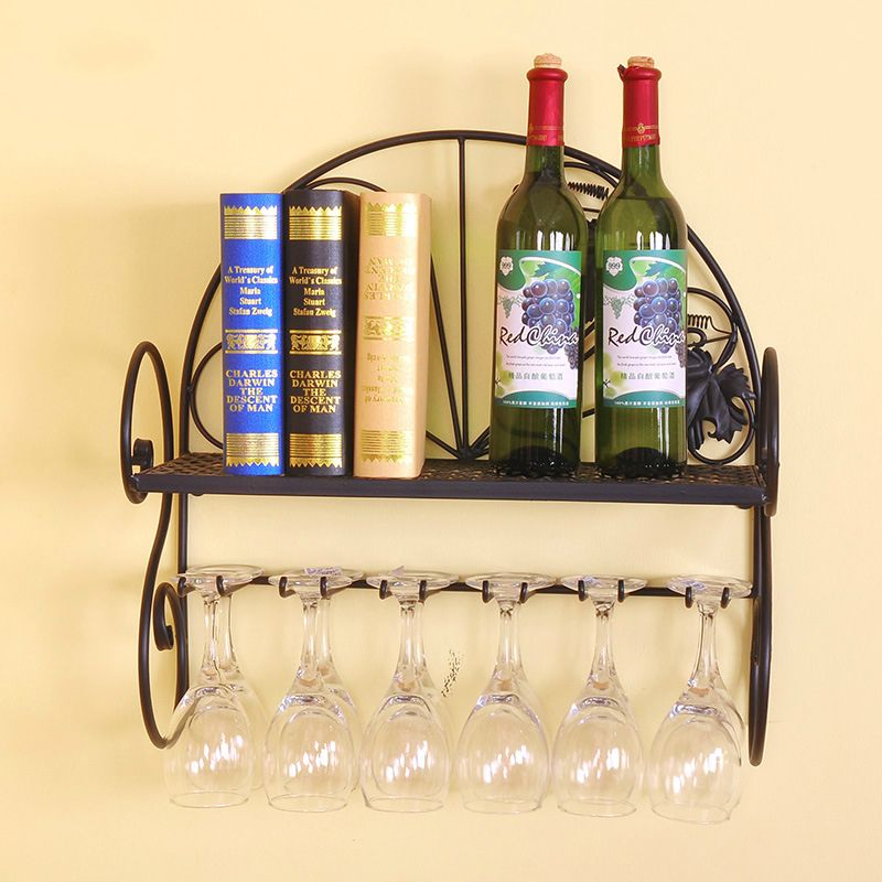 Metal iron wall hanging Wine holder glass goblets rack metal wall ...