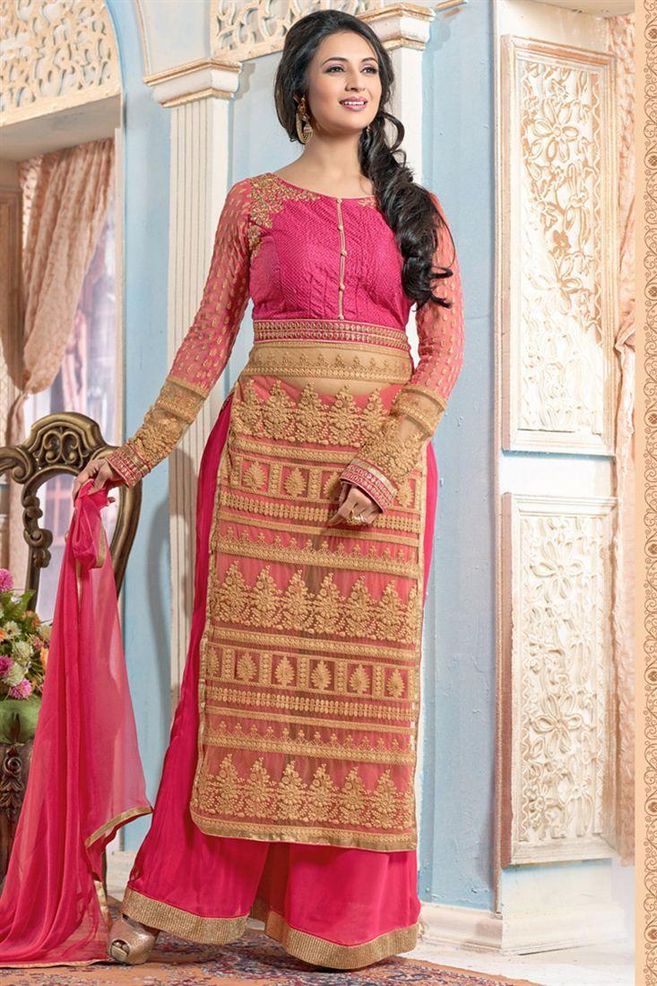 b64e769ea7 Divyanka Tripathi Designer Palazzo Suit   Celebrity Inspired Suits ...
