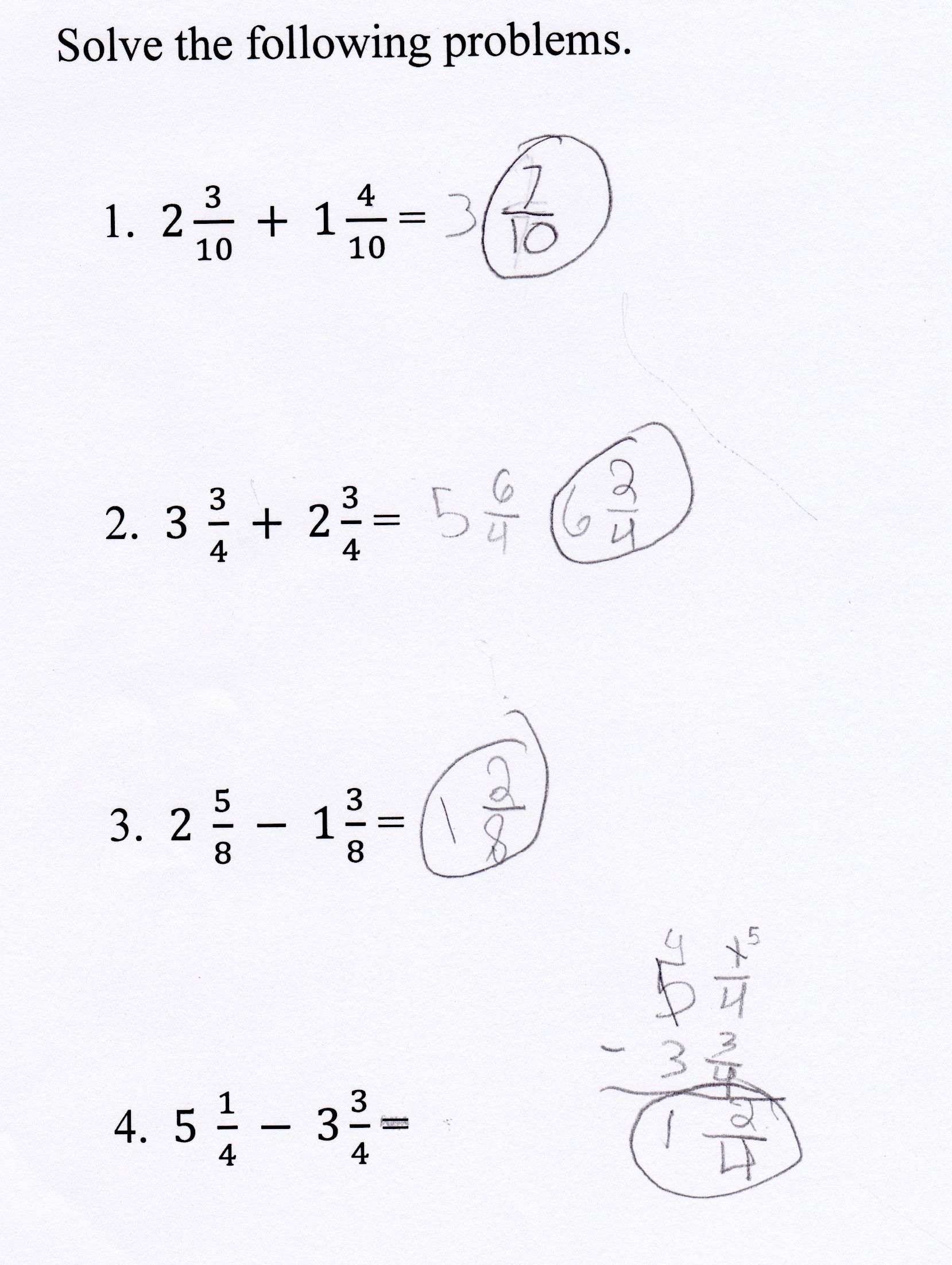 Adding Fractions With Unlike Denominators Worksheets 5th