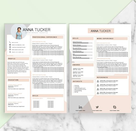 Modern Resume Template   CV Template Professional and cv - resume template it professional