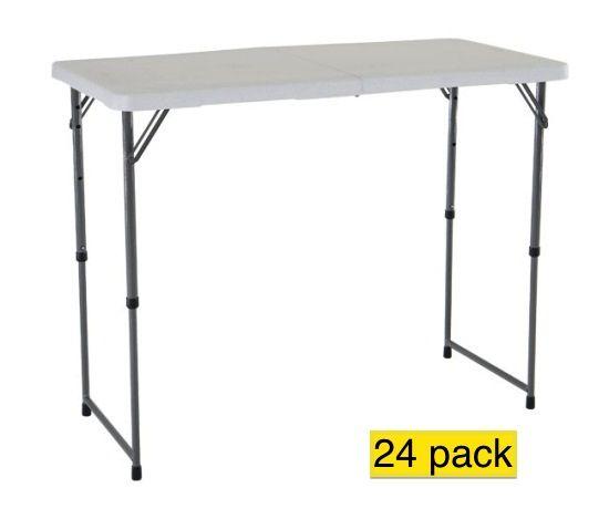 Lifetime Adjustable Leg Table 4435 White 4 Ft Adjustable Height Table 24 Pack Adjustable Table Folding Table Adjustable Height Table