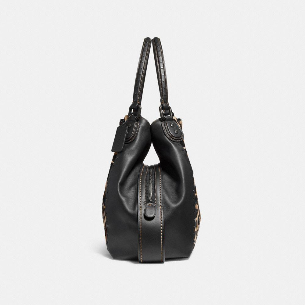 Coach Edie Shoulder Bag 42 With Embellished Leopard Print - Leopard Black  Copper dafbbf4b59957