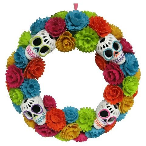 day of the dead flower and skull wreath target indoor halloween decorationsoutdoor - Day Of The Dead Halloween Decorations