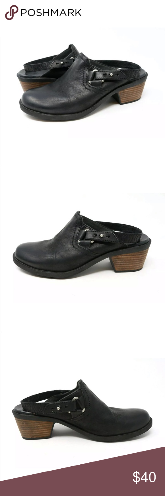 16c02e46c19266 Teva Foxy Slingback Mule Ankle Heel Strap Black Teva Foxy Women s Slingback  Mule Black Leather Ankle Heel Strap 1013674 Excellent preowned condition.