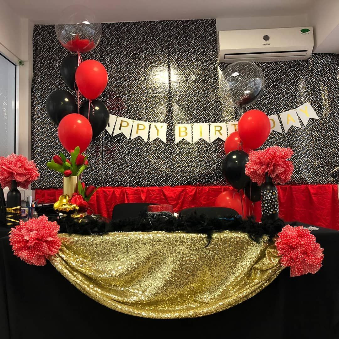 Birthday Decoration . . . Deby's Art . #birthday #birthdaytheme #blackredgold #m... | 1452
