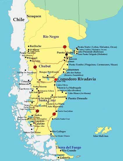 Mapa de la Patagonia Argentina | PLACES TO GO | Pinterest