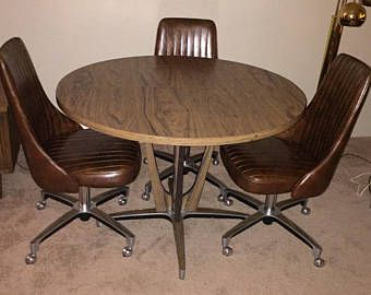 Chromcraft Dining Room Table And Swivel Bucket Chairs With Casters