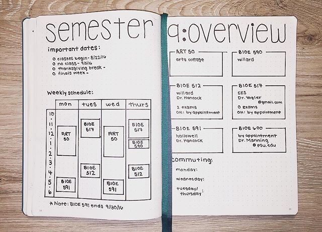 Hofstudies Made A Page For My Class Schedule   Bullet Journal