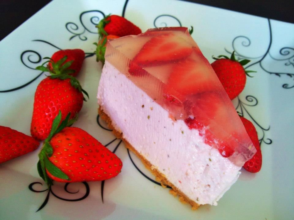 Strawberry Mousse Cake. Good for summer!