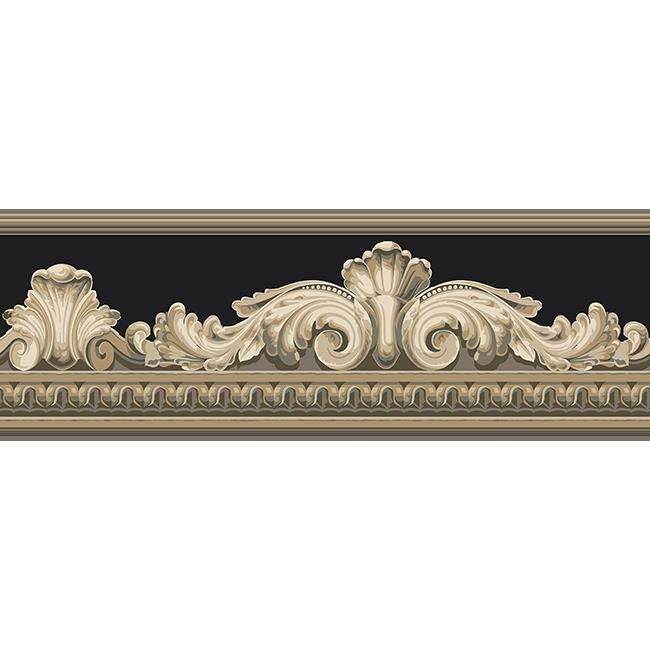 Wallpaper Border Designer Black Cream Tan Beige  Architectural Faux Molding #YORK