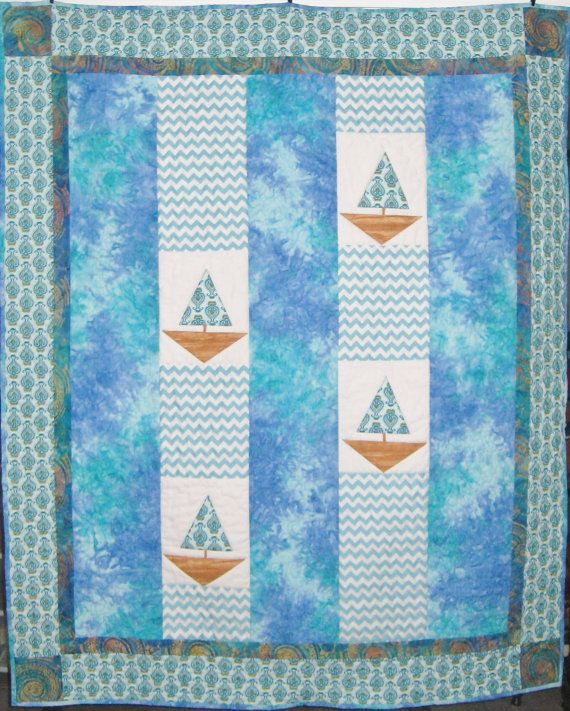 Sailboat and Blue Waters Quilt Picnic Blanket by JuneBugQuilts, $185.00
