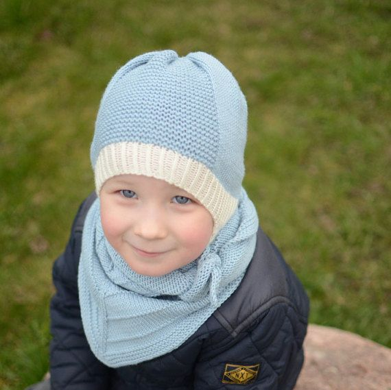 dd6796060ab Hand Knit Kids Hat in White And Sky Blue