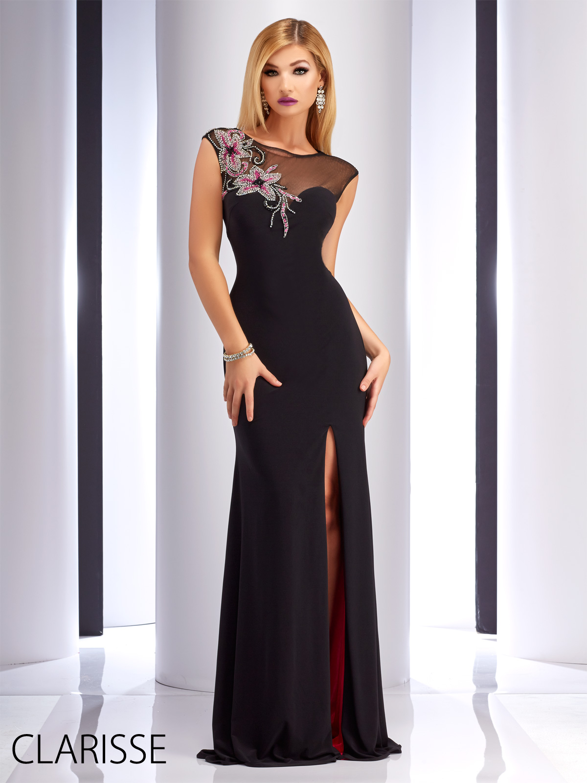 Sultry and sexy blackfuchsia formfitting clarisse prom dress