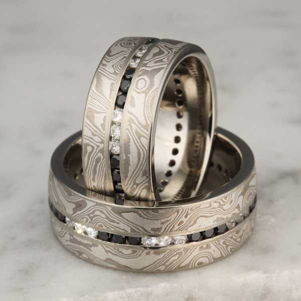 Mokume Diamond Channel Wedding Bands For the Men Pinterest